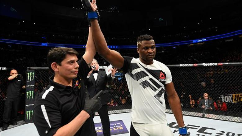 DENVER, CO - JANUARY 28:  Francis Ngannou of Cameroon celebrates his knockout victory over Andrei Arlovski of Belarus in their heavyweight bout during the UFC Fight Night event at the Pepsi Center on January 28, 2017 in Denver, Colorado. (Photo by Josh He