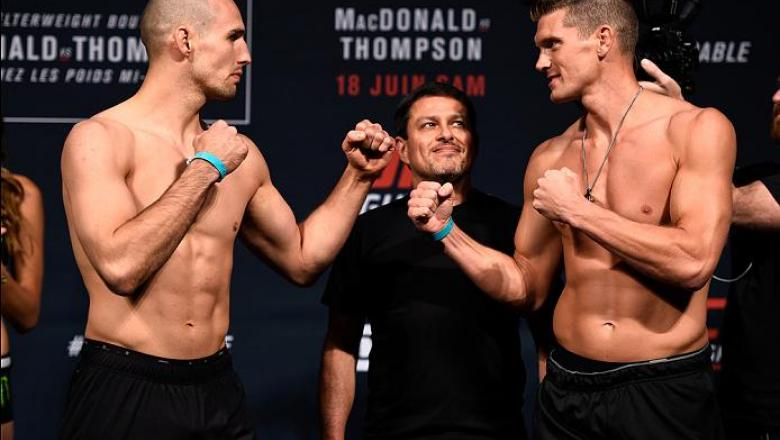 OTTAWA, ON - JUNE 17:  (L-R) Opponents Rory MacDonald of Canada and Stephen Thompson of the United States face off during the UFC Fight Night Weigh-in inside the Arena at TD Place on June 17, 2016 in Ottawa, Ontario, Canada. (Photo by Jeff Bottari/Zuffa L