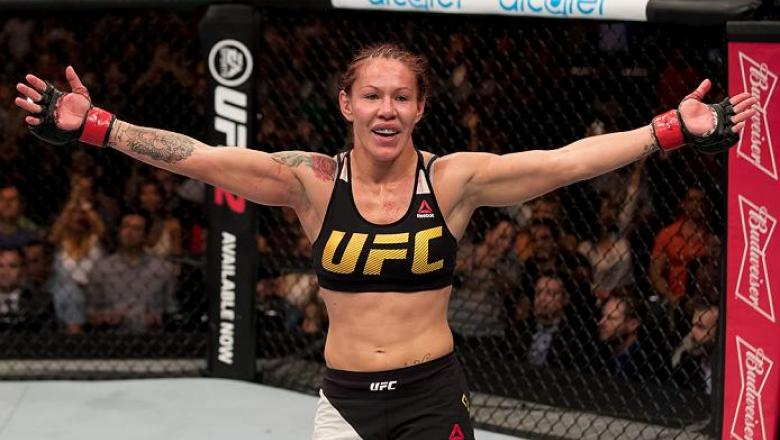 BRASILIA, BRAZIL - SEPTEMBER 24: Cris Cyborg of Brazil celebrates victory over Lina Lansberg of Sweden in their catchweight UFC bout during the UFC Fight Night event at Nilson Nelson gymnasium on September 24, 2016 in Brasilia, Brazil. (Photo by Buda Mend