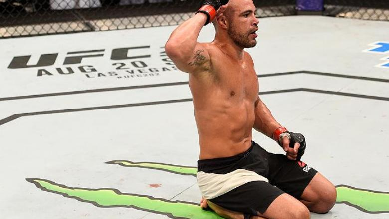 SALT LAKE CITY, UT - AUGUST 06:  Thales Leites celebrates his submission victory over Chris Camozzi in their middleweight bout during the UFC Fight Night event at Vivint Smart Home Arena on August 6, 2016 in Salt Lake City, Utah. (Photo by Jeff Bottari/Zu