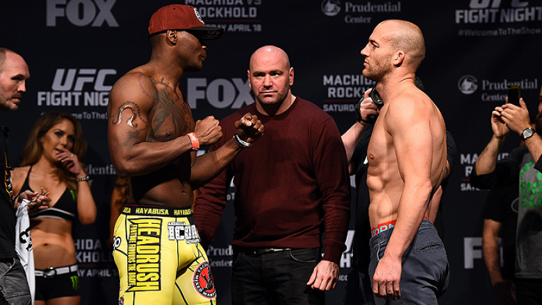 NEWARK, NJ - APRIL 17:  (L-R) Ovince Saint Preux and Patrick Cummins face off during the UFC Fight Night weigh-in event at the Prudential Center on April 17, 2015 in Newark, New Jersey. (Photo by Jeff Bottari/Zuffa LLC/Zuffa LLC via Getty Images)
