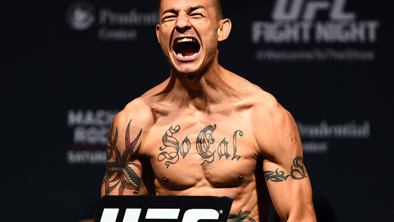 NEWARK, NJ - APRIL 17:  Cub Swanson steps on the scale during the UFC Fight Night weigh-in event at the Prudential Center on April 17, 2015 in Newark, New Jersey. (Photo by Jeff Bottari/Zuffa LLC/Zuffa LLC via Getty Images)