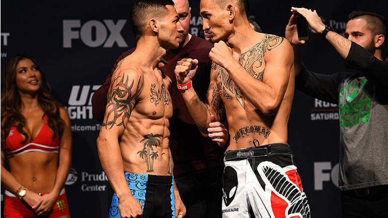 NEWARK, NJ - APRIL 17:  (L-R) Cub Swanson and Max Holloway face off during the UFC Fight Night weigh-in event at the Prudential Center on April 17, 2015 in Newark, New Jersey. (Photo by Jeff Bottari/Zuffa LLC/Zuffa LLC via Getty Images)