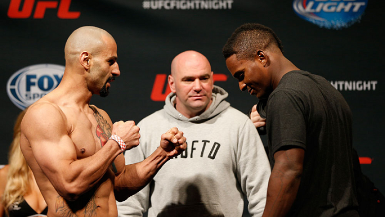 CINCINNATI, OH - MAY 09:  (L-R) Opponents Costas Philippou adn Lorenz Larkin face off during the UFC weigh-in at the U.S. Bank Arena on May 9, 2014 in Cincinnati, Ohio. (Photo by Josh Hedges/Zuffa LLC/Zuffa LLC via Getty Images)