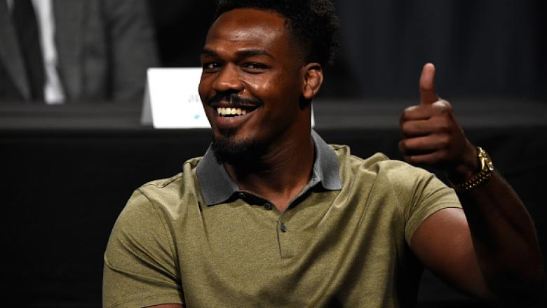 DALLAS, TX - MAY 12:  Jon Jones gives the fans a thumbs up during the UFC Summer Kickoff Press Conference at the American Airlines Center on May 12, 2017 in Dallas, Texas. (Photo by Josh Hedges/Zuffa LLC/Zuffa LLC via Getty Images)