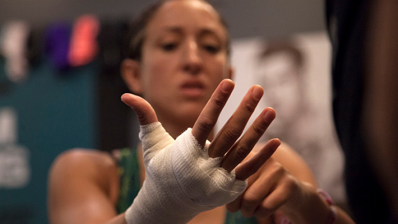 LAS VEGAS, NV - JULY 15:  Team Pettis fighter Jessica Penne gets her hands wrapped before facing team Melendez fighter Lisa Ellis during filming of season twenty of The Ultimate Fighter on July 15, 2014 in Las Vegas, Nevada. (Photo by Brandon Magnus/Zuffa