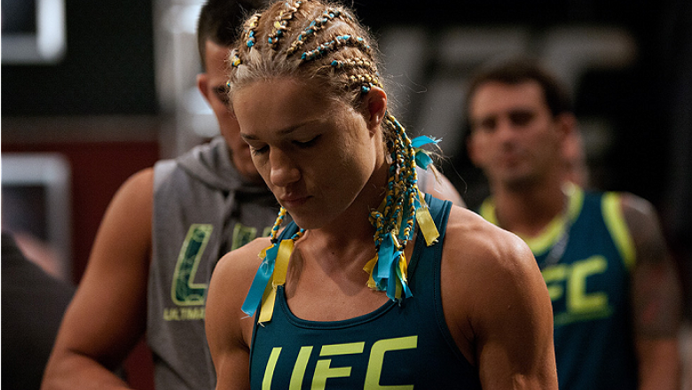 LAS VEGAS, NV - JULY 18:  Team Pettis fighter Felice Herrig prepares to enter the Octagon before facing team Melendez fighter Heather Jo Clark during filming of season twenty of The Ultimate Fighter on July 18, 2014 in Las Vegas, Nevada. (Photo by Brandon