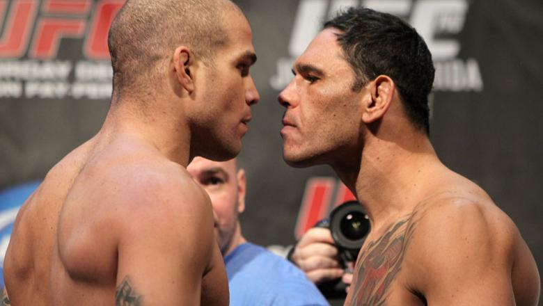 "TORONTO, ON - DECEMBER 09:  (L-R) Light Heavyweight opponents Tito Ortiz and Antonio Rogerio ""Minotoro"" Nogueira face off after weighing in during the UFC 140 Official Weigh-in at the Air Canada Centre on December 9, 2011 in Toronto, Canada.  (Photo by Jo"
