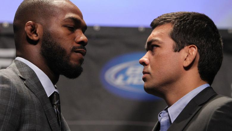 TORONTO, ON - DECEMBER 08:  (L-R) UFC Light Heavyweight Champion Jon Jones and opponent Lyoto Machida face off at the final UFC 140 pre-fight press conference at Bell Tiff Lightbox Cinema1 on December 8, 2011 in Toronto, Canada.  (Photo by Josh Hedges/Zuf