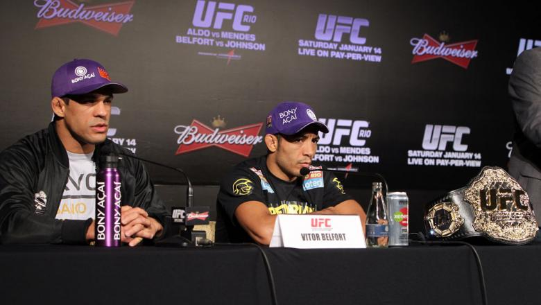 RIO DE JANEIRO, BRAZIL - JANUARY 12:  (L-R) Vitor Belfort and Jose Aldo attend the final UFC 142 pre-fight press conference at the Copacabana Palace Hotel on January 12, 2012 in Rio de Janeiro, Brazil.  (Photo by Josh Hedges/Zuffa LLC/Zuffa LLC via Getty