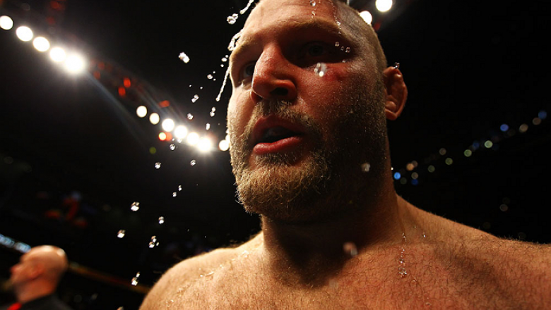 ATLANTA, GA - APRIL 21:  Water is applied to Ben Rothwell's head after he defeated Brendan Schaub by TKO in the first round of their heavyweight bout for UFC 145 at Philips Arena on April 21, 2012 in Atlanta, Georgia.  (Photo by Al Bello/Zuffa LLC/Zuffa L