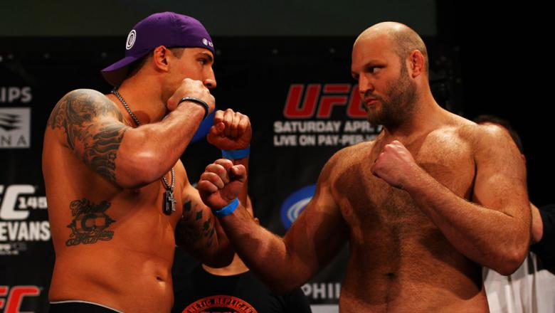 ATLANTA, GA - APRIL 20:  Heavyweight fighters Brendan Schaub (L) and Ben Rothwell square off during the UFC 145 official weigh in at Fox Theatre on April 20, 2012 in Atlanta, Georgia.  (Photo by Al Bello/Zuffa LLC/Zuffa LLC via Getty Images)