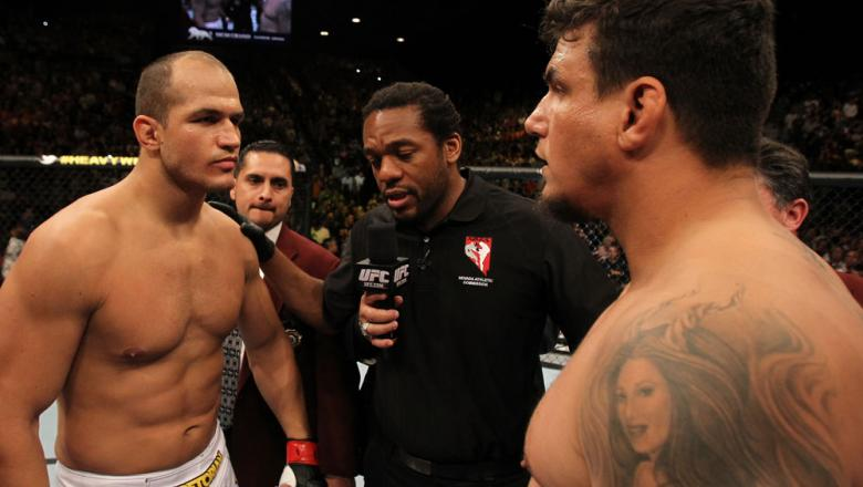 LAS VEGAS, NV - MAY 26:  Junior dos Santos (left) and Frank Mir (right) faceoff before the Heavyweight Championship bout at UFC 146 at MGM Grand Garden Arena on May 26, 2012 in Las Vegas, Nevada.  (Photo by Josh Hedges/Zuffa LLC/Zuffa LLC via Getty Images