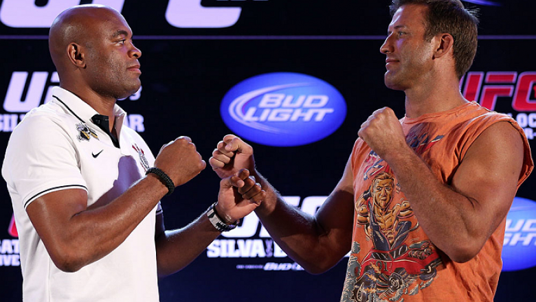 RIO DE JANEIRO, BRAZIL - OCTOBER 11:  (L-R) Opponents Anderson Silva and Stephan Bonnar face off during a press conference ahead of UFC 153 at Windsor Barra Hotel on October 11, 2012 in Rio de Janeiro, Brazil.  (Photo by Josh Hedges/Zuffa LLC/Zuffa LLC vi