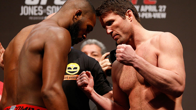 "NEWARK, NJ - APRIL 26:   (L-R) Opponents UFC Light Heavyweight Champion Jon ""Bones"" Jones and Chael Sonnen face off during the UFC 159 weigh-in event at the Prudential Center on April 26, 2013 in Newark, New Jersey.  (Photo by Josh Hedges/Zuffa LLC/Zuffa"