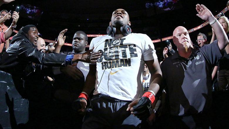 TORONTO, CANADA - SEPTEMBER 21:  Jon 'Bones' Jones enters the arena prior to his fight against Alexander Gustafsson in their UFC light heavyweight championship bout at the Air Canada Center on September 21, 2013 in Toronto, Ontario, Canada. (Photo by Al B