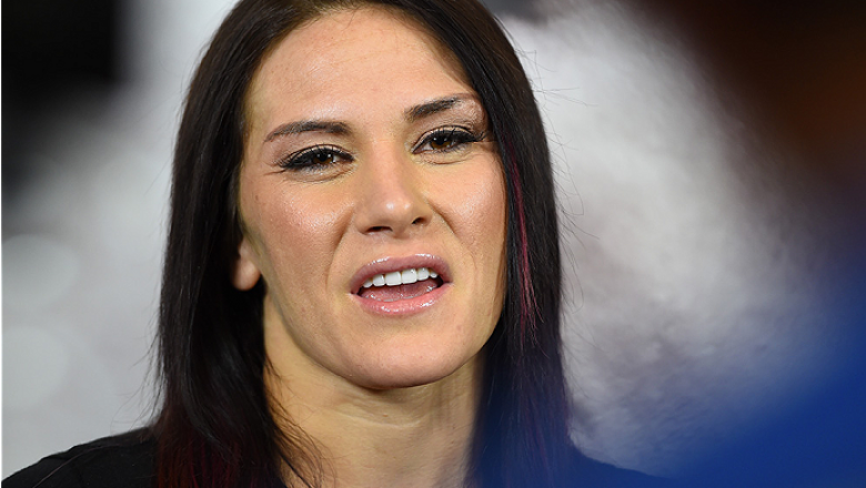 TORRANCE, CA - FEBRUARY 24:  Cat Zingano interacts with media after an open training session for fans and media at the UFC Gym on February 24, 2015 in Torrance, California. (Photo by Josh Hedges/Zuffa LLC/Zuffa LLC via Getty Images)