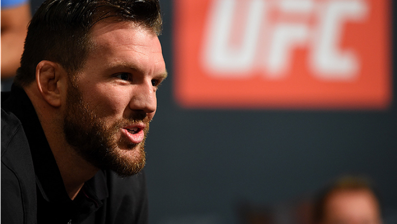 HOUSTON, TX - OCTOBER 01:  Ryan Bader interacts with media during the UFC 192 Ultimate Media Day at the Toyota Center on October 1, 2015 in Houston, Texas. (Photo by Josh Hedges/Zuffa LLC/Zuffa LLC via Getty Images)