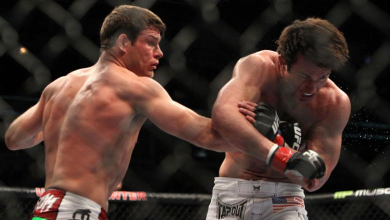CHICAGO, IL - JANUARY 28:  (L-R) Michael Bisping punches Chael Sonnen during the UFC on FOX event at United Center on January 28, 2012 in Chicago, Illinois.  (Photo by Josh Hedges/Zuffa LLC/Zuffa LLC via Getty Images) *** Local Caption *** Chael Sonnen; M
