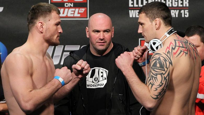 OMAHA, NE - FEBRUARY 14:  (L-R) Heavyweight opponents Stipe Miocic and Phil De Fries face off after weighing in during the UFC on FUEL TV weigh in event at Omaha Civic Auditorium on February 14, 2012 in Omaha, Nebraska.  (Photo by Josh Hedges/Zuffa LLC/Zu