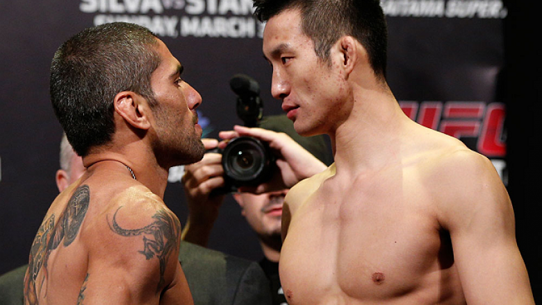 SAITAMA, JAPAN - MARCH 02: (L-R) Opponents Marcelo Guimaraes and Hyun Gyu Lim face off during the UFC on FUEL TV weigh-in at Saitama Super Arena on March 2, 2013 in Saitama, Japan. (Photo by Josh Hedges/Zuffa LLC/Zuffa LLC via Getty Images)