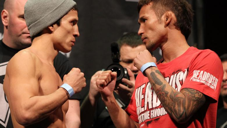 SYDNEY, AUSTRALIA - MARCH 02:  (L-R) Opponents Joseph Benavidez and Yasuhiro Urushitani face off after weighing in during the UFC on FX official weigh in at Allphones Arena on March 2, 2012 in Sydney, Australia.  (Photo by Josh Hedges/Zuffa LLC/Zuffa LLC