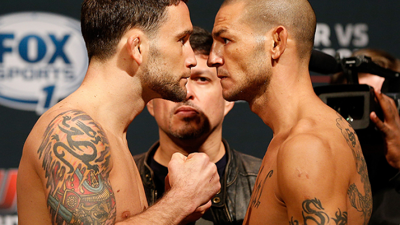AUSTIN, TX - NOVEMBER 21:  (L-R) Opponents Frankie Edgar and Cub Swanson face off during the UFC weigh-in at The Frank Erwin Center on November 21, 2014 in Austin, Texas.  (Photo by Josh Hedges/Zuffa LLC/Zuffa LLC via Getty Images)