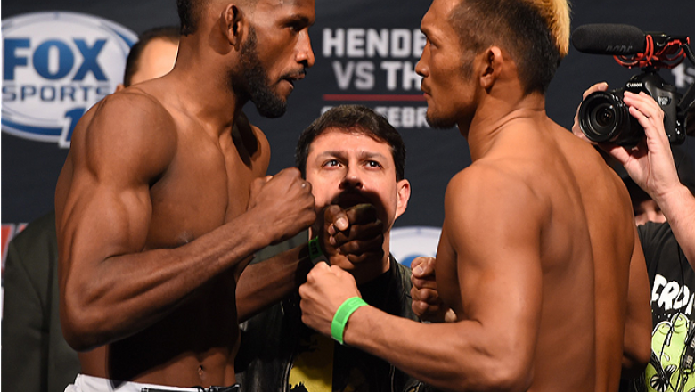 BROOMFIELD, CO - FEBRUARY 13: (L-R) Opponents Neil Magny and Kiichi Kunimoto of Japan face off during the UFC weigh-in at the 1stBank Center on February 13, 2015 in Broomfield, Colorado. (Photo by Josh Hedges/Zuffa LLC/Zuffa LLC via Getty Images)