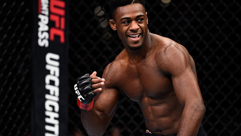 LAS VEGAS, NEVADA - DECEMBER 10:  Aljamain Sterling celebrates his win over Johnny Eduardo in their bantamweight bout during the UFC Fight Night event at The Chelsea at the Cosmopolitan of Las Vegas on December 10, 2015 in Las Vegas, Nevada.  (Photo by Je