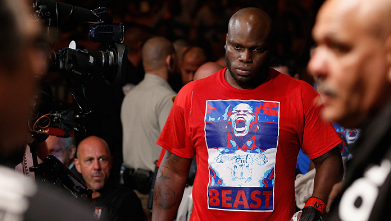 LAS VEGAS, NV - JULY 06:  Derrick Lewis enters the arena in their heavyweight fight against Guto Inocente during the Ultimate Fighter Finale inside the Mandalay Bay Events Center on July 6, 2014 in Las Vegas, Nevada.  (Photo by Josh Hedges/Zuffa LLC/Zuffa