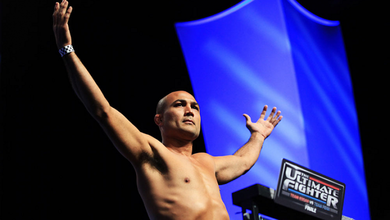 LAS VEGAS, NV - JULY 5: BJ Penn weighs in during the TUF 19 Finale weigh-in inside the Mandalay Bay Convention Center on July 5, 2014 in Las Vegas, Nevada.(Photo by Brandon Magnus/Zuffa LLC/Zuffa LLC via Getty Images)