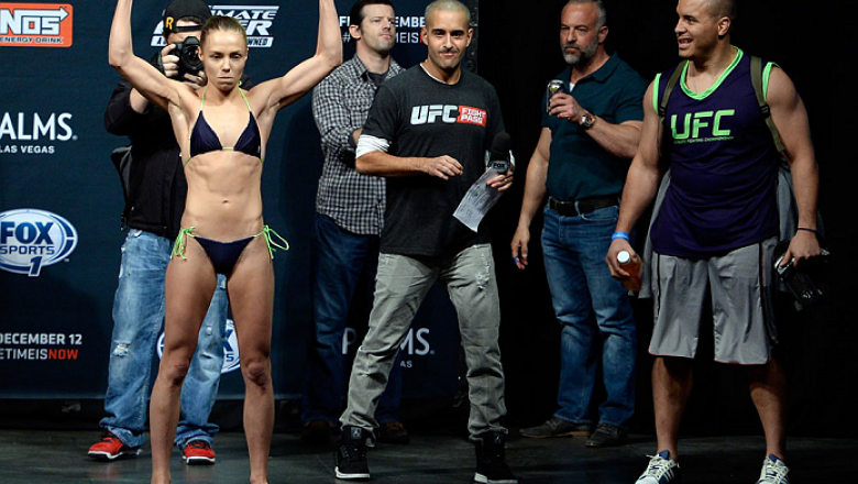 LAS VEGAS, NEVADA - DECEMBER 11:  UFC strawweight Rose Namajunas interacts with the crowd during The Ultimate Fighter Finale weigh-ins at the Palms Casino Resort on December 11, 2014 in Las Vegas, Nevada. (Photo by Jeff Bottari/Zuffa LLC/Zuffa LLC via Get