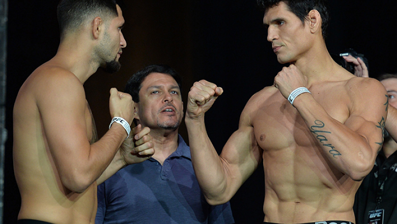 LAS VEGAS, NEVADA - JULY 11:   (L-R) Jorge Masvidal and Cezar Ferreira face off during the TUF 21 Finale Weigh-in at the UFC Fan Expo in the Sands Expo and Convention Center on July 11, 2015 in Las Vegas Nevada. (Photo by Brandon Magnus/Zuffa LLC/Zuffa LL