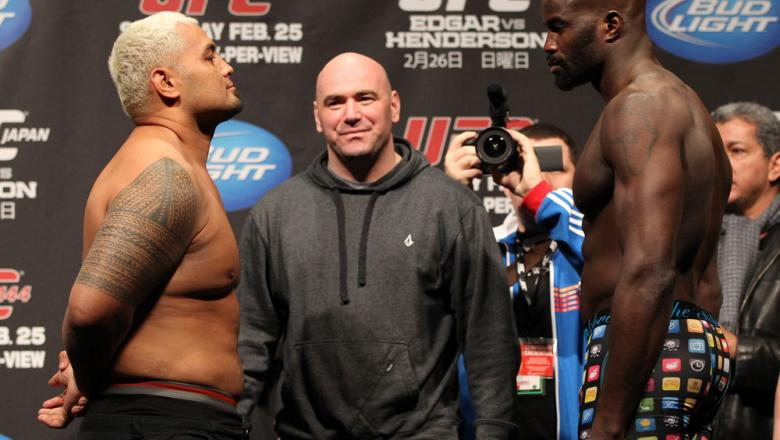 SAITAMA, JAPAN - FEBRUARY 25:  (L-R) Heavyweight opponents Mark Hunt and Cheick Kongo face off after weighing in during the official UFC 144 weigh in at the Saitama Super Arena on February 25, 2012 in Saitama, Japan.  (Photo by Josh Hedges/Zuffa LLC/Zuffa