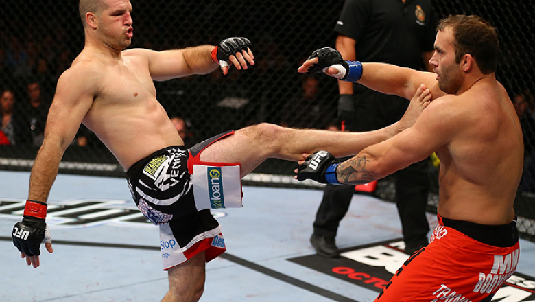 TORONTO, CANADA - SEPTEMBER 22: (L-R) Matt Hamill kicks Roger Hollett during their light heavyweight bout at UFC 152 inside Air Canada Centre on September 22, 2012 in Toronto, Ontario, Canada. (Photo by Al Bello/Zuffa LLC/Zuffa LLC via Getty Images)