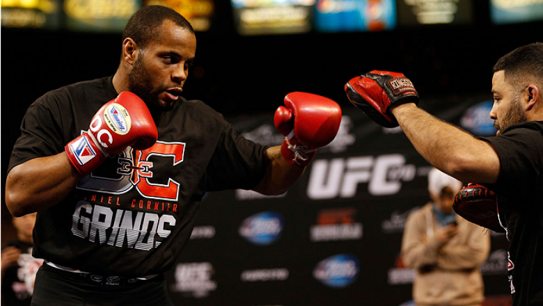 LAS VEGAS, NV - FEBRUARY 19:  Daniel Cormier holds an open training session for fans and media at the Mandalay Bay Events Center on February 19, 2014 in Las Vegas, Nevada. (Photo by Josh Hedges/Zuffa LLC/Zuffa LLC via Getty Images)