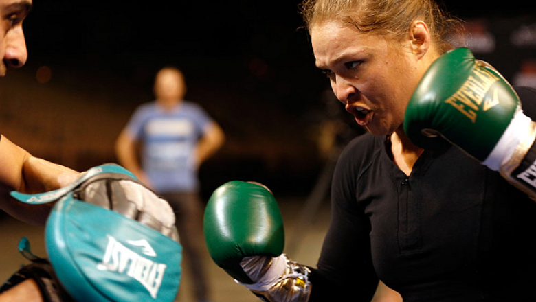 LAS VEGAS, NV - FEBRUARY 19:  UFC women's bantamweight champion Ronda Rousey holds an open training session for fans and media at the Mandalay Bay Events Center on February 19, 2014 in Las Vegas, Nevada. (Photo by Josh Hedges/Zuffa LLC/Zuffa LLC via Getty
