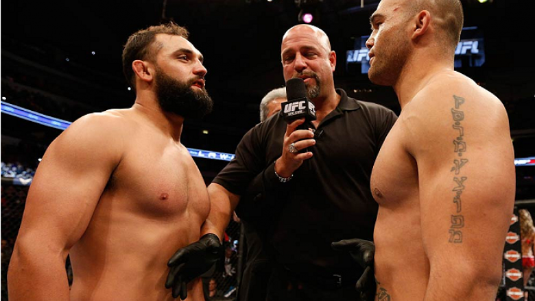 DALLAS, TX - MARCH 15:  (L-R) Opponents Johny Hendricks and Robbie Lawler face off before their UFC welterweight championship bout at UFC 171 inside American Airlines Center on March 15, 2014 in Dallas, Texas. (Photo by Josh Hedges/Zuffa LLC/Zuffa LLC via