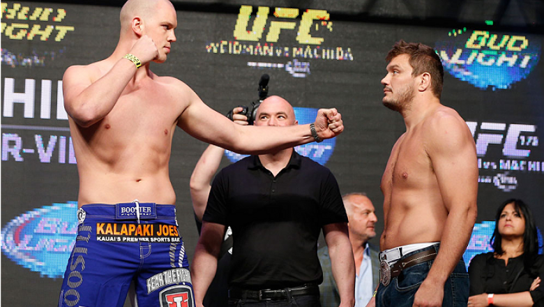 LAS VEGAS, NV - JULY 04:  (L-R) Steven Struve faces off with Matt Mitrione during the UFC 175 weigh-in inside the Mandalay Bay Events Center on July 4, 2014 in Las Vegas, Nevada.  (Photo by Josh Hedges/Zuffa LLC/Zuffa LLC via Getty Images)