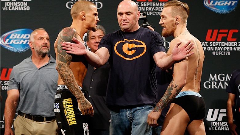 LAS VEGAS, NV - SEPTEMBER 26:  (L-R) Opponents Dustin Poirier and Conor McGregor of Ireland face off during the UFC 178 weigh-in at the MGM Grand Conference Center on September 26, 2014 in Las Vegas, Nevada. (Photo by Josh Hedges/Zuffa LLC/Zuffa LLC via G