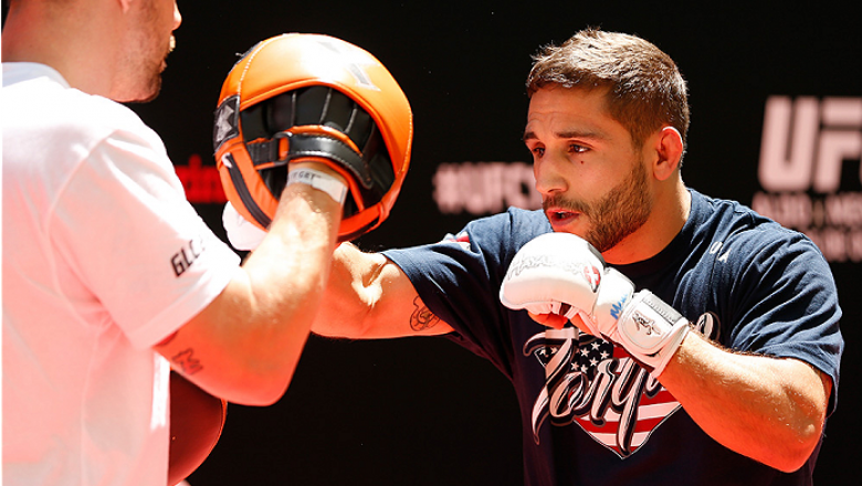 RIO DE JANEIRO, BRAZIL - OCTOBER 23:  Chad Mendes holds an open training session for media inside Maracanã Stadium on October 23, 2014 in Rio de Janeiro, Brazil. (Photo by Josh Hedges/Zuffa LLC/Zuffa LLC via Getty Images)