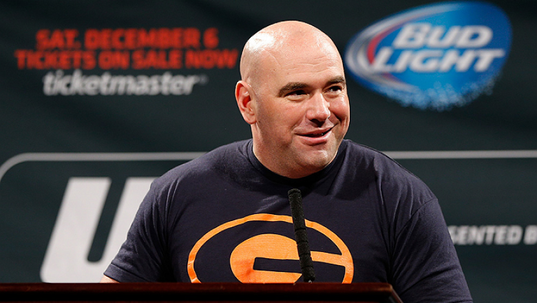 LAS VEGAS, NV - SEPTEMBER 26: UFC President Dana White interacts with media and fans during the UFC 181 press conference at the MGM Grand Conference Center on September 26, 2014 in Las Vegas, Nevada. (Photo by Josh Hedges/Zuffa LLC/Zuffa LLC via Getty Ima