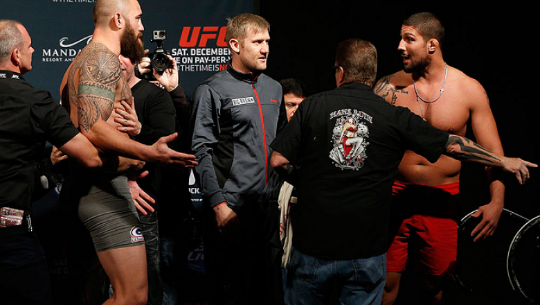 LAS VEGAS, NV - DECEMBER 05:  (L-R) Opponents Travis Browne and Brendan Schaub face off during the UFC 181 weigh-in inside the Mandalay Bay Events Center on December 5, 2014 in Las Vegas, Nevada.  (Photo by Josh Hedges/Zuffa LLC/Zuffa LLC via Getty Images