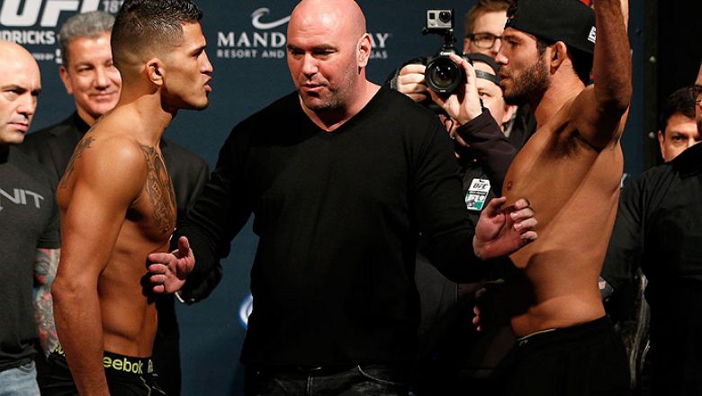 LAS VEGAS, NV - DECEMBER 05:  (L-R) Opponents Anthony Pettis and Gilbert Melendez face off during the UFC 181 weigh-in inside the Mandalay Bay Events Center on December 5, 2014 in Las Vegas, Nevada.  (Photo by Josh Hedges/Zuffa LLC/Zuffa LLC via Getty Ima