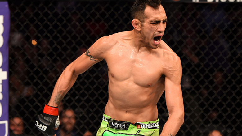 LOS ANGELES, CA - FEBRUARY 28:  Tony Ferguson celebrates after defeating Gleison Tibau in their lightweight bout during the UFC 184 event at Staples Center on February 28, 2015 in Los Angeles, California.  (Photo by Josh Hedges/Zuffa LLC/Zuffa LLC via Get