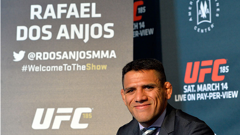 DALLAS, TX - MARCH 12:  Rafael dos Anjos of Brazil interacts with media during the UFC 185 Ultimate Media Day at the American Airlines Center on March 12, 2015 in Dallas, Texas. (Photo by Mike Roach/Zuffa LLC/Zuffa LLC via Getty Images)