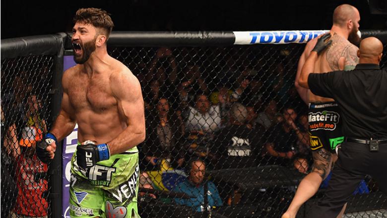 LAS VEGAS, NV - MAY 23:  Andrei Arlovski (left) reacts to his victory over Travis Browne in their heavyweight bout during the UFC 187 event at the MGM Grand Garden Arena on May 23, 2015 in Las Vegas, Nevada.  (Photo by Josh Hedges/Zuffa LLC/Zuffa LLC via