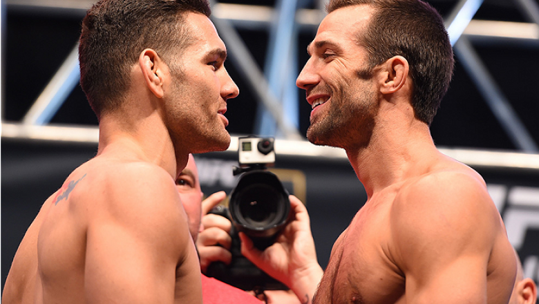 LAS VEGAS, NV - DECEMBER 11:   (L-R) UFC middleweight champion Chris Weidman and challenger Luke Rockhold face off during the UFC 194 weigh-in inside MGM Grand Garden Arena on December 10, 2015 in Las Vegas, Nevada.  (Photo by Josh Hedges/Zuffa LLC/Zuffa
