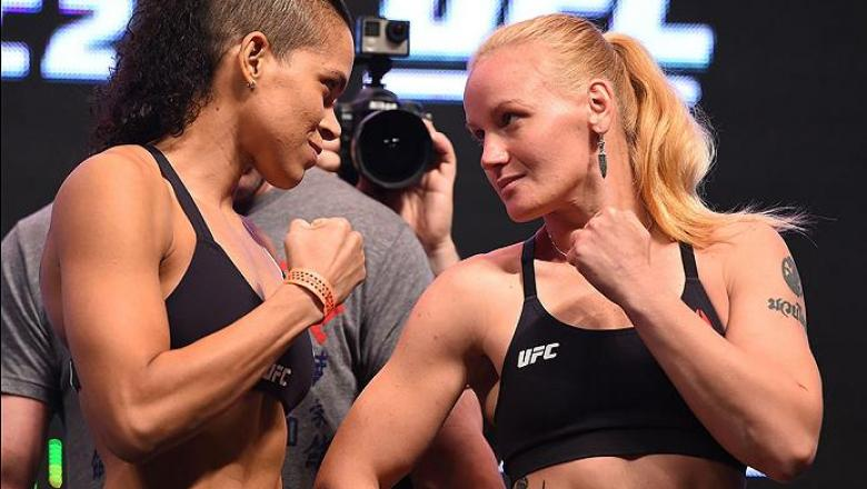 LAS VEGAS, NV - MARCH 04: (L-R) Opponents Amanda Nunes of Brazil and Valentina Shevchenko of Kyrgyzstan face off during the UFC 196 Weigh-in at the MGM Grand Garden Arena on March 4, 2016 in Las Vegas, Nevada. (Photo by Josh Hedges/Zuffa LLC/Zuffa LLC via