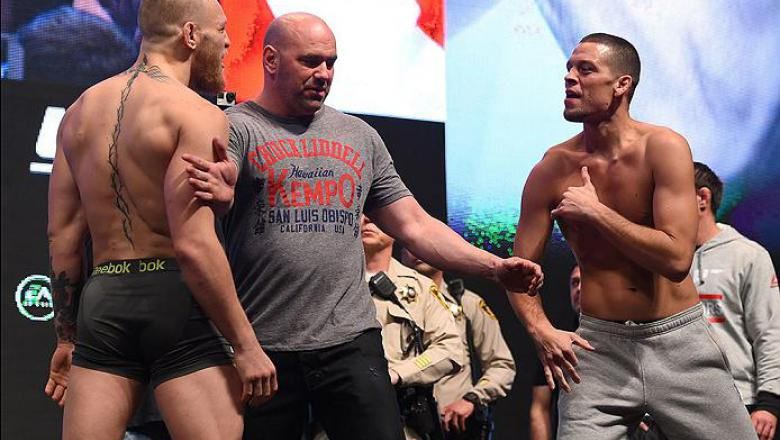 LAS VEGAS, NV - MARCH 04:  (L-R) Opponents Conor McGregor of Ireland and Nate Diaz face off during the UFC 196 Weigh-in at the MGM Grand Garden Arena on March 4, 2016 in Las Vegas, Nevada. (Photo by Josh Hedges/Zuffa LLC/Zuffa LLC via Getty Images)